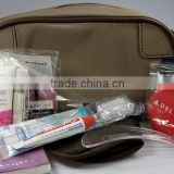 Luxury and portable airplane travel amenity set with oxford bag for first class