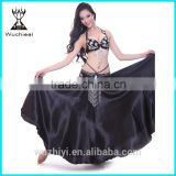 Wuchieal Professional Belly Dance Performance Skirt, Black Satin Skirt Long