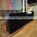 MDF with black painting customized shop cashier desk design , long store checkout counter