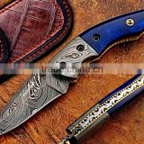 A PURE CAMEL COLORED BLUE BONE HANDLE HANDMADE DAMASCUS STEEL LINER LOCK FOLDING HUNTING KNIFE.