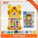 Lovely tiger baby learning mobile phone toys with music & light