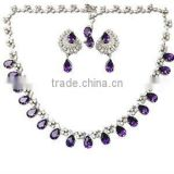 Designer Beautiful Amethyst Gemstone Necklace, Pear Cut Purple Pretty Necklace, Gemstone and diamond necklace exporter