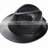 Men's Real Sheepskin Leather Black Bucket Cap/ Fedora hat /Gentleman Hat