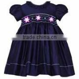 customized children clothing girls infant silk smocked dress navy blue girls kids apparel