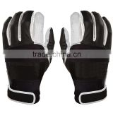Baseball Batting Gloves, Real Leather Softball Glove White & Black