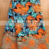 hollandis wax mix lace fabric african wax/ankara printed wax mix embroidered lace