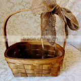 Rustic woodchip flower girl basket wedding & gift & fruit & card basket for christmas & garden decoration