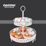 Factory Supplier 2 Tiers round mental Cupcake Display Stand ,white cupcake stand