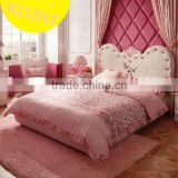 Modern pink handmade carved angel wings upholstered unique kids princess bedroom furniture sets - BF07-70346