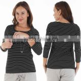 wholesale maternity clothing Long Sleeves scoop neckline Stripe Nursing Top Maternity Shirt