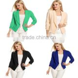 Ladies Office Blazer Jackets Formal 3/4 Sleeve Open Front Short Style Cardigan 100% Polyester New Model Designer Blazer
