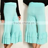 korean wholesale clothing 95% RAYON 5% SPANDEX RUFFLE HEM SOLID JERSEY KNIT GAUCHO PANTS Harem yoga pants