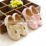KS00271C Hot lace bow tie with beads princess party shoe beautiful kids dress shoe