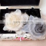 YR384 women real mink fur flower accessory snood