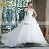 ED Strapless Ivory Ball Gown Bead Appliques Floor Length Tulle Bandage Wedding Dress