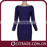 2014 women long sleeve blue evening dress with crystal