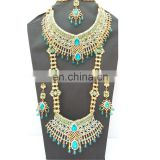 Beautiful Indian Style Colorful Turquoise Pearl & Gold Raani Necklace with Earring Tikka