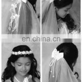 New 2014 High Quality Graceful Wedding /Bridal Veil For Flower Girl,Perfect White&Pink Head Wreath,Head Band,Communion Veil