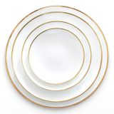 wholesale simple style dinner plate set with rold rim from China
