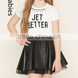 Fashion kids skirt top model 2016 black faux leather pleated skirt                                                                                                         Supplier's Choice