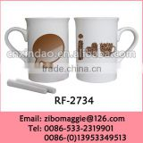 Elegant Ceramic U Shape Wholesale Promotion Cup with Chalk for Set Coffee Cups