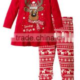 Hot selling wholesale funny cheap cotton 2-7 Year girls sexy deer christmas pajamas baby boutique clothing sets MY-IA0019