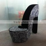 high quality confortable relaxing fashion Zebra and Black High Heel Shoe Chair ,storage high heel shoe chair for living room