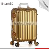 National classic gloden school long luggage case travel trolley luggage suitcase bag with multiwheels