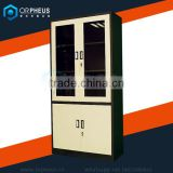 Classic Glass Double Door Display Cabinet Wooden Storage Cabinet/Cupboard Adjustable Filing Cabinet Leg