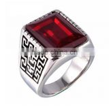 Men's Stainless Steel The Great Wall Pattern Silver Rings With Gemstone, New Design Great Wall Ring