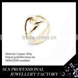 925 silver jewelry gold plated high polished jewelry bling-bling finger rings without stones
