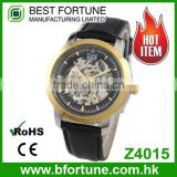 Z4015 Classic fashion style skeleton 3 atm Automatic movtu stainless steel genuine leather watch