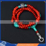 Tibetan Buddhist MEDITATION 108 Beads Genuine jequirity BODHI SEED MALA with turquoise For Compassion