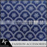 2015 Hot selling blue cotton guipure lace embroidery fabric wholesale