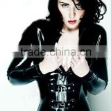 2012 new style sexy black leather suit