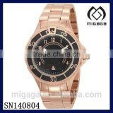 Fashion Rose Gold Coating Steel Watch for women-Womens New Anchor Black Dial Rose Gold Tone Bracelet Watch