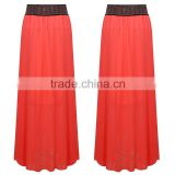Guangzhou supplier latest long skirt design beaded pink midiskirt chiffon women long skirt