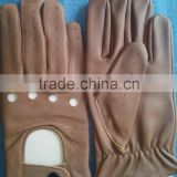 Driving Gloves Open Back Styling with a Snap Closure/NEW TOP QUALITY REAL SOFT LEATHER FINGERLESS MEN'S DRIVING GLOVES