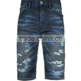 wholesales china new style short pants men camouflage priting denim half pants jeans shorts