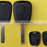 High quality car key decoder remote cover case fob For peugeot key with 2 button 407 blade no logo