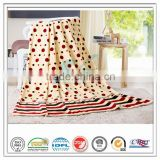 super soft bedding set 100% polyester circle dot strip printed coral fleece for hospital home hotel velvet blanket
