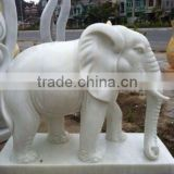 Stone Carved Elephant Figurines Statue White Marble Hand Carved Sculpture for Garden Home