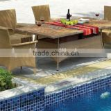 outdoor dining set in nature flat wicker includes six chairs and dining table with teak wood glass table top