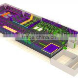 1000 sq commercial indoor trampoline park/Factory price amusement trampoline for kids and adults