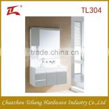 Double basin modern bathroom vanity mirror stainless steel aluminum cabinet with LED light