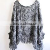 Fashion lady Batwing gray hollow out knitted cardigan poncho with Tassel