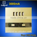 2015 New Products Wallpad Gold PC110~250V Electrical LED 4 Usb Charger Ports USB Power Wall Light Socket