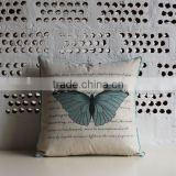 retro elegant design100% linen cotton butterfly printed sofa home decor back rest cushion cushion cover