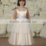 Sleeveless Satin Two-Tiered Crystal Flower Girl Dress With Sash(FLMO-3051)