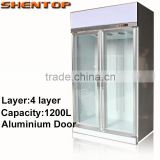 SHENTOP Double glass door refrigerated showcase Aluminium doors fan cooler 0~+10 STLA-G12L2FA